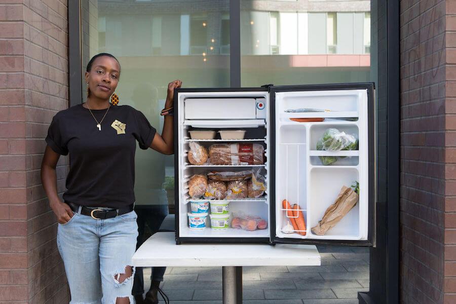 Allison Gibson demonstrating community fridges