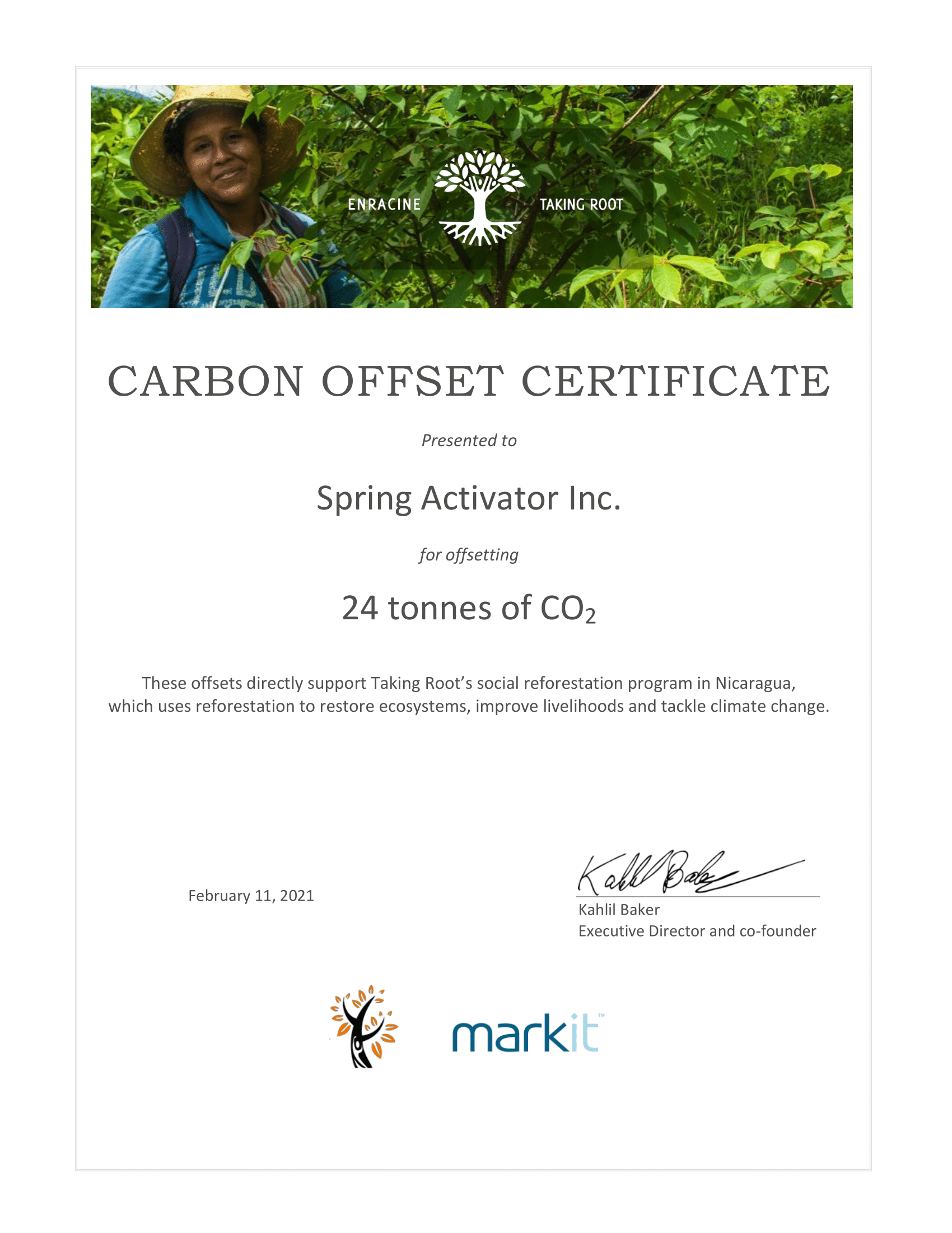 Spring Activator is Certified Carbon Neutral by Taking Root
