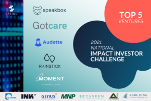 2021 National Impact Investor Challenge Top 5 Companies: Gotcare, Speakbox, Audette, RainStick, Moment Energy
