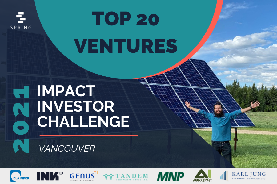 A banner introducing the Top 20 startups of Spring Activator's fall 2021 Vancouver Impact Investor Challenge.